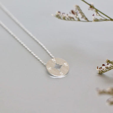 Minimalist Silver Coloured Compass Necklace - Necklaces