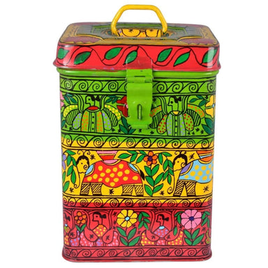 Multi Color Hand Painted Canister in Stainless Steel - Title - Kitchen Decor
