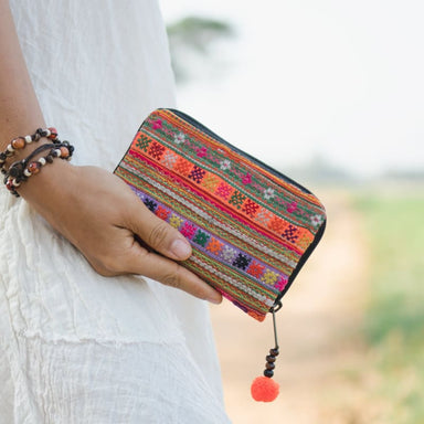 Multicolored Embroidered Hmong Wallet in Fabric - Wallets