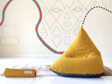 Mustard and Charcoal Beanbag in Pure Cotton - Default title - Bean Bags