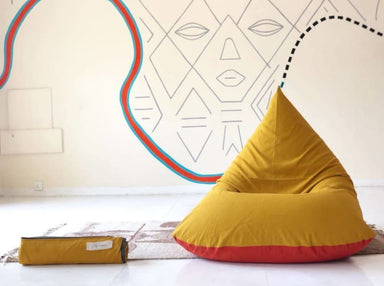 Mustard and Rust Beanbag in Pure Cotton - Default title - Bean Bags