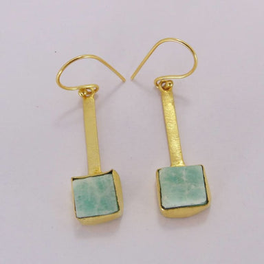 Natural Amazonite Gemstone Dangle Earrings - Earrings