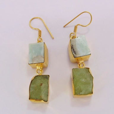 Natural Prehnite And Larimar Gemstone Dangle Earrings - Earrings