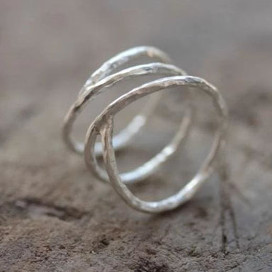 Open wrap Ring in Hammered Silver - Rings