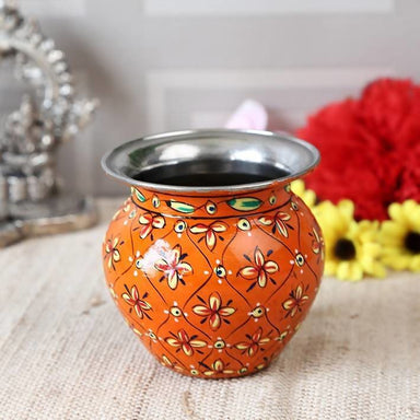 Orange Hand Painted Pot in Steel - Title - Home Decor