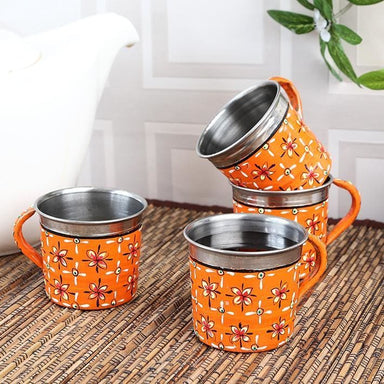 Orange Set of Four Tea Cups in Stainless Steel - Kitchen Decor