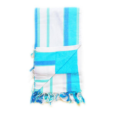 White and Blues Cabana Kenyan Beach Towel
