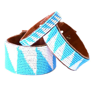 Tri Light Blue Beaded Leather Cuff
