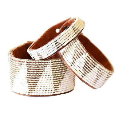 Tri Silver Beaded Leather Cuff