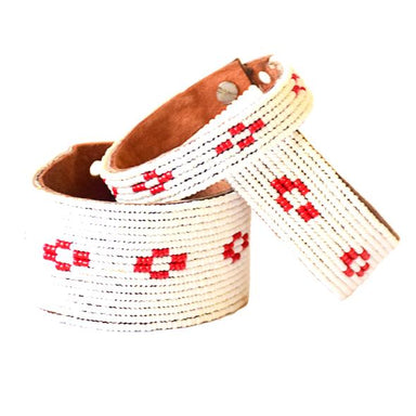 Diamond Red Beaded Leather Cuff
