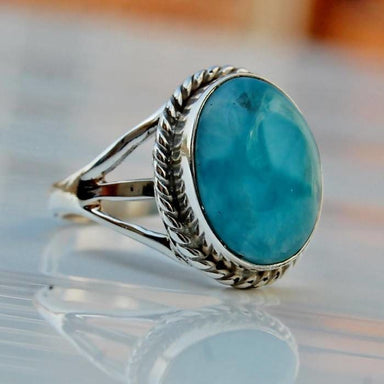 Oval Cab Blue Larimar stone Ring in Silver - Rings