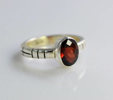 Oval Maroon Ring in Sterling Silver - Rings