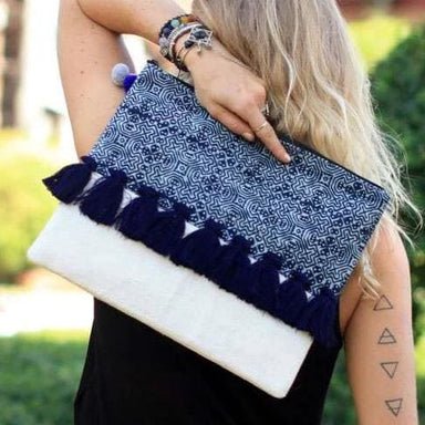 Oversized Blue Clutch in Batik with Tassels - Clutches