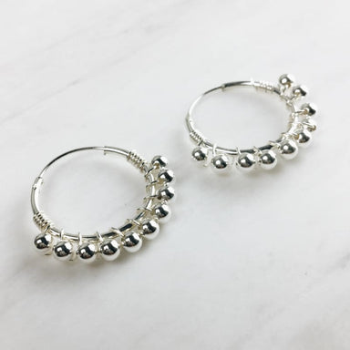 Pair of Sterling Silver Dangling Ball Hoop Earrings (20mm) - Earrings