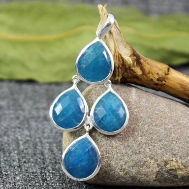 Pendant with Blue Aventurine Gemstone in Sterling Silver - Necklaces