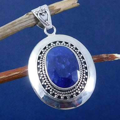 Pendant with Blue Sapphire Oval Gemstone in Sterling Silver - Necklaces