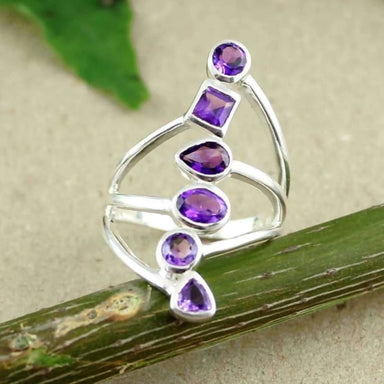 Purple Amethyst Gemstone Sterling Silver Ring - Rings