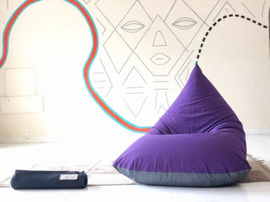 Purple and Charcoal Beanbag in Pure Cotton - Default title - Bean Bags