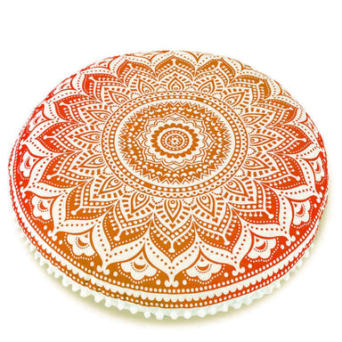 Indian Mandala Round Cotton Cushion Cover Ottoman Hippie Pouf Floor Decor 32''Inch
