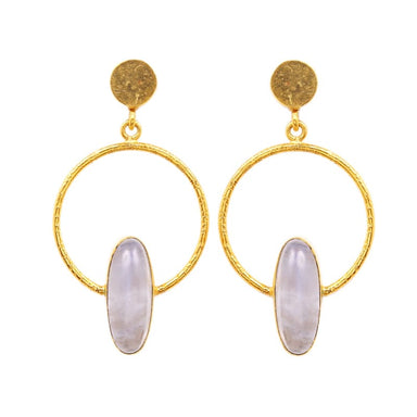 Rainbow Moonstone Gemstone Bezel Dangle Earrings - Earrings