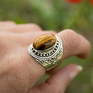 Rare Oval Tiger Gemstone Ring in Sterling Silver - Rings
