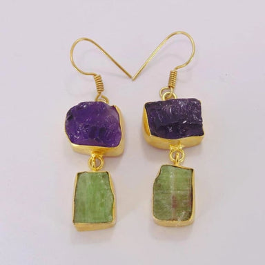 Raw Amethyst And Kyanite Gemstone Dangle Earrings - Earrings