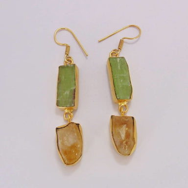 Raw Citrine And Kyanite Gemstone Dangle Earrings - Earrings