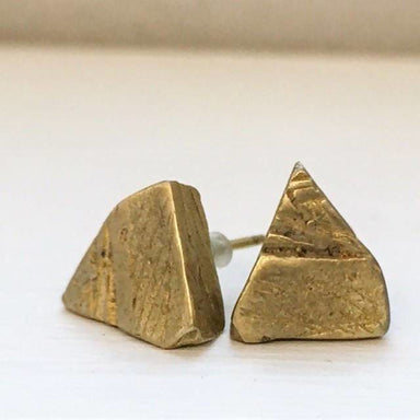 Raw Triangle Stud Earrings in Brass - Earrings