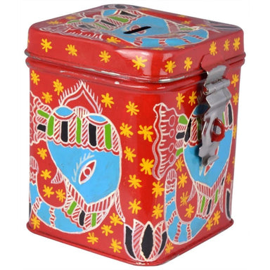 Red Hand Painted Money Bank with Folk Art of Rajasthan Design - Home Decor