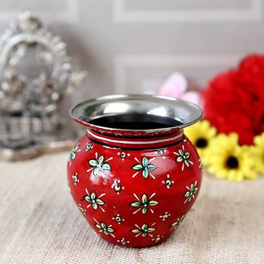 Red Hand Painted Pot in Steel - Title - Home Decor
