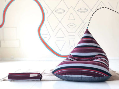 Retro Wine and Charcoal Striped Beanbag in Pure Cotton - Default title - Bean Bags