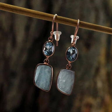 Rose Gold Plated Earring with Aquamarine Blue Topaz Gemstone - Earrings