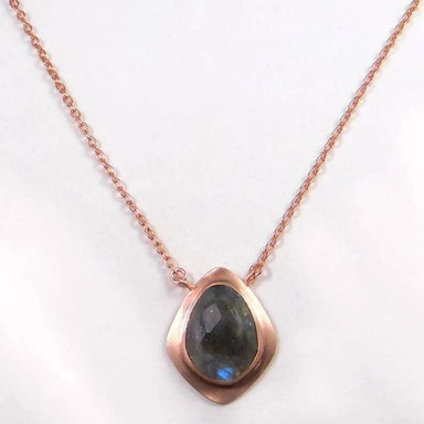 Rose Gold Plated Necklace with Labradorite Gemstone Necklace 18 - Necklaces
