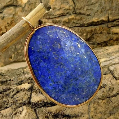 Rose Gold Plated Pendant with Lapis Lazuli gemstone - Necklaces