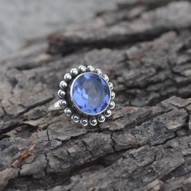 Round Cut Blue Iolite Silver Ring - Rings
