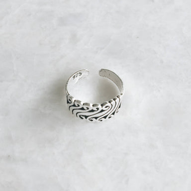 Sterling silver funky wave toe ring