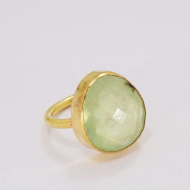 Sea Green Chalcedony Gemstone Ring in Gold Vermeil - Rings