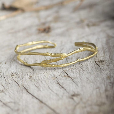 Sea Wave Inspired Gold Color Bracelet in Brass - Title - Bracelets