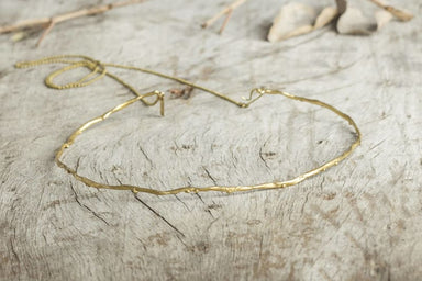 Sea Wave Inspired Gold Color Choker in Brass - Necklaces