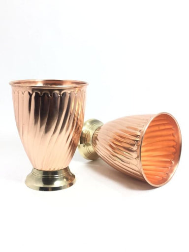 Set of 2 Hand Hammered Pure Copper Drinking Goblets - Kitchen Decor