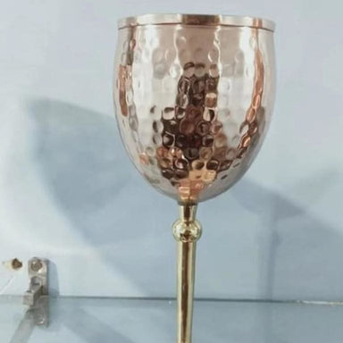 Set of 2 Pure Copper Handhammered Wine Glasses - Kitchen Decor