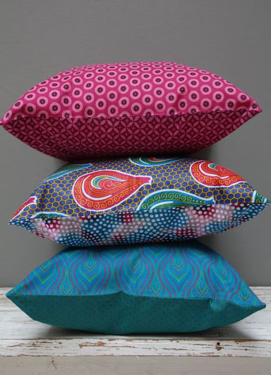Set of 3 eyecatching mixed print (Shweshwe and Java wax print) African cushions - Cushions & Pillows