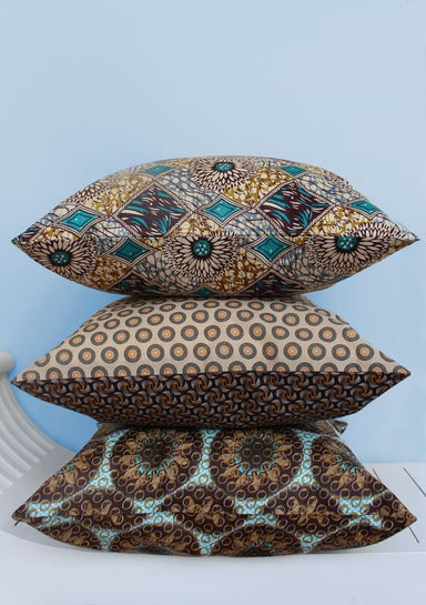 Set of 3 Shweshwe and Java wax African print scatter cushions in the colors turquoise brown and yellow (50 x 50cm) - Cushions & Pillows