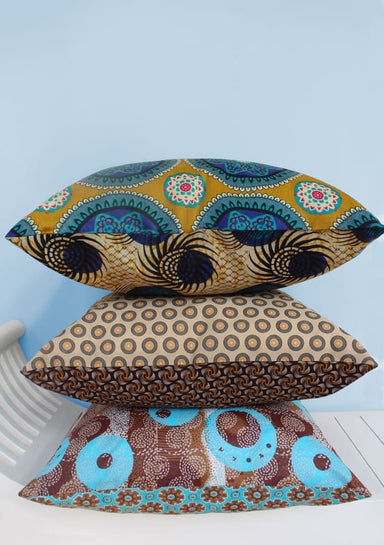 Set of 3 Shweshwe & Java print scatter cushions (50x50cm) - Cushions & Pillows