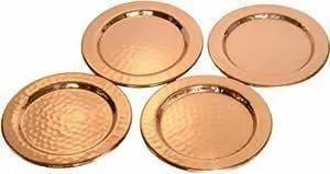Set of 4 Hammered Coasters in Pure Copper - Kitchen Decor