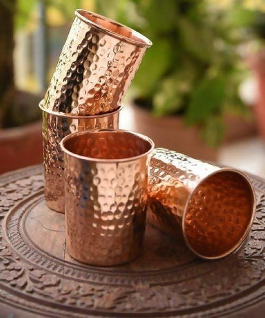 Set of 4 Hand Hammered Pure Copper Drinking Cups - Kitchen Decor