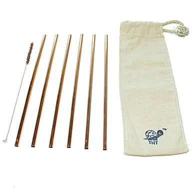 Set of 6 Reusable Copper Straws - Home Decor