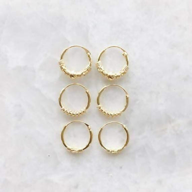 Set of Gold Plated Bali Hoop Earrings - Earrings