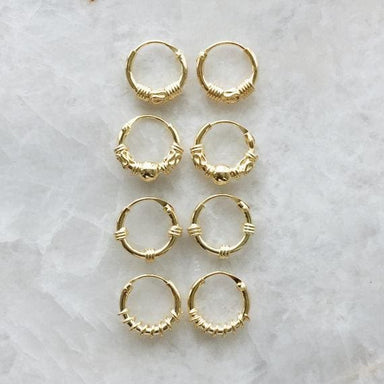 Set of Gold Plated Minimalist Bali Hoop Earrings (10mm) - Earrings