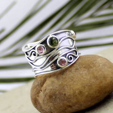 Silver Band Ring with Multi-colour Tourmaline Gemstones - Rings